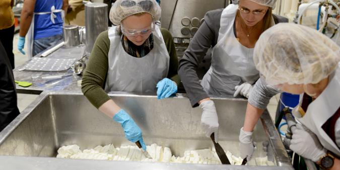 The Department of Food Science and Human Nutrition External Advisory Council participated in a cheesemaking demonstration in CCUR's Wet Processing Pilot Plant.
