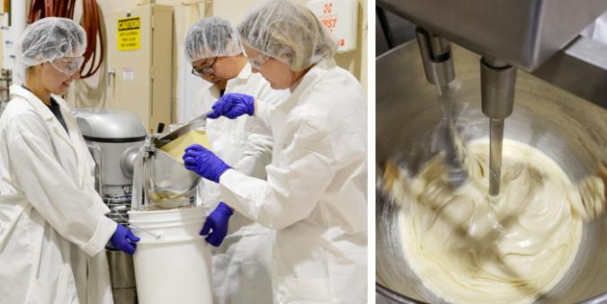 A view of molten pasteurized process cheese food in the kettle.