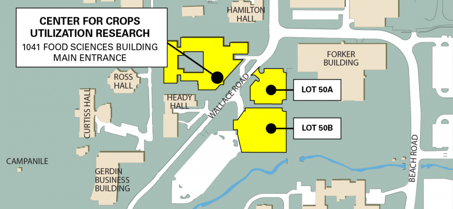 Map of Iowa State University Campus, Zoomed in on Food Sciences Building.